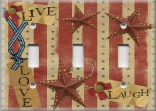 Light Switch Plate Cover Americana Decor Folk Art Country Live Love