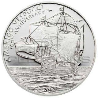 Cook Islands 2012 5$ Amerigo Vespucci Silver Coin Proof
