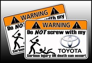 Funny Toyota SUV Warning Sticker Camery 4Runner Land FJ