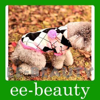 Lovely Purple Diamond Check Cotton Pet Dog Clothes Spring Dress