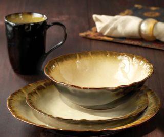 American Atelier Organic Abalone Gold 16 Piece Dinnerware Set New