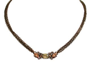ANDALUSIA COLLECTION/ANTIQUE GOLD TONE/CRYSTALS & CHAIN NECKLACE BY