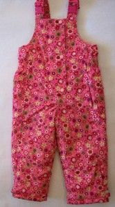 Hanna Andersson Girl Pink Floral Bibs Ski Snow Overall Pants 90 2 3 2T