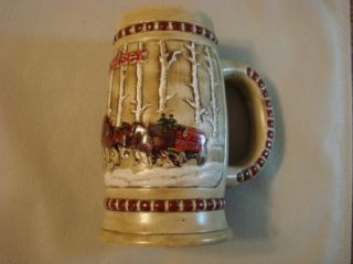 1981 Budweiser Beer Holiday Stein Snowy Woodland CS50 Mint