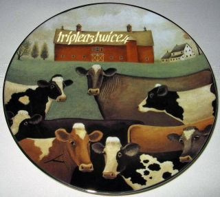 Lowell Herrero American Folk Art THE GATHERING Cows Country Farm Plate