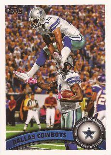 2011 Topps Football Dallas Cowboys Team Set 15 Total w 4 RCS
