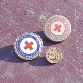 US WWII American Red Cross pins for nurse, volunteer and blood donor