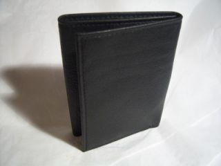 amity black slim trifold leather wallet