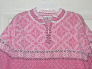 Girls Hanna Andersson Sz 110 US 4 5 6 Pink Gray White Snowflake