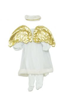 Angel Gown Gold Wings Baby Halo Headband and Button Up Bodysuit