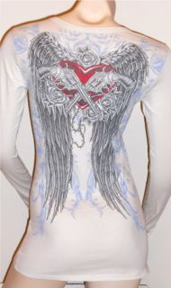 CRYSTAL GUNS HEART ANGEL WINGS TATTOO L/S T SHIRT TOP S M L XL