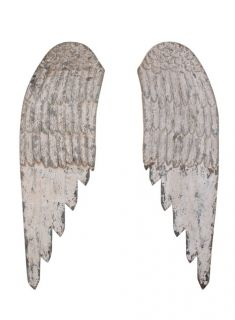 Wooden Antique Look Carved Angel Wings Church Cottage Shabby Chic Wood