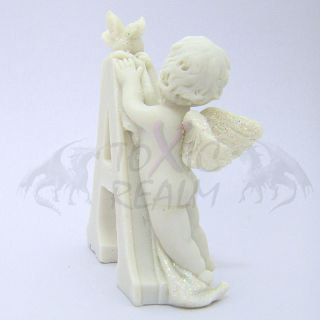 Cherub Angel Small White Wall Decor Cake Topper TR5542 Shelf Sitter