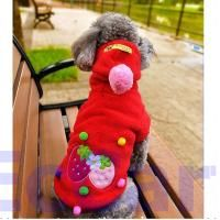Red Strawberry Fleece Warm Coat Pet Dog Clothes Apparel Outfits