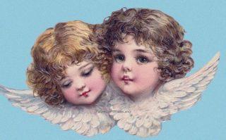 Brundage Angels Cherubs in Blue Fabric Block Multi Size