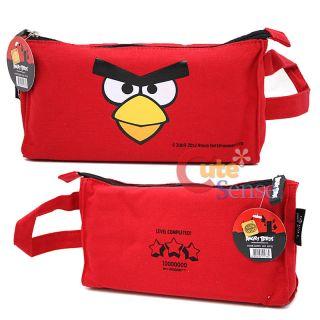 Rovio Angry Birds Pencil Case Pouch Bag Big Red Bird Face w/ Strap
