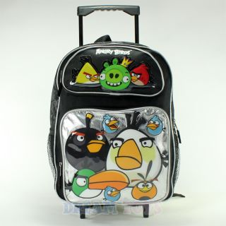 rovio angry birds and king pig 16 roller backpack book bag rolling
