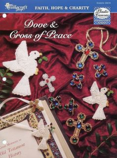 Dove Cross of Peace Jewelry Bookmark Plastic Canvas Pattern Leaflet