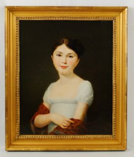 Antique American Folk Art Painting Portrait A Young Beautiful Red