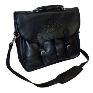 NFL Collection Debossed Black Leather Anglers Briefcase Bag