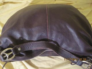 Lucky Brand Buttery Soft Leather Peace Sign Slouchy Purple Large $168