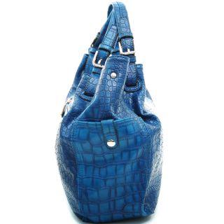 Anais Gvani Womens Scrunched Style Soft Croco Tote w/ Twist lock