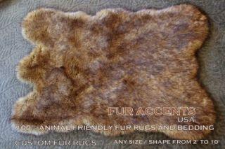 RUG BROWN FAUX FUR BEAR SHEEPSKIN ACCENT THROW NEW ANIMAL PELT RUG