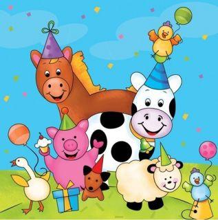 Barnyard Farm Animals Party Supplies Beverage Napkins 16pk