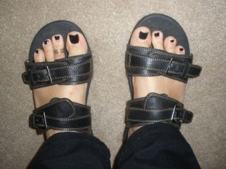 Dr Andrew Weil Mystic Black Leather Sandals 40 10 Orthaheel Worn Once