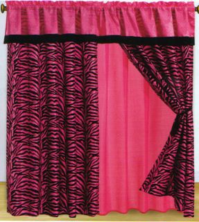 Zebra Animal Print Flocking Window Curtain Set Bed in A Bag Bedding
