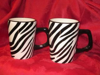 Roscher Black White Bamboo Zebra Print Mugs Set of 2 New