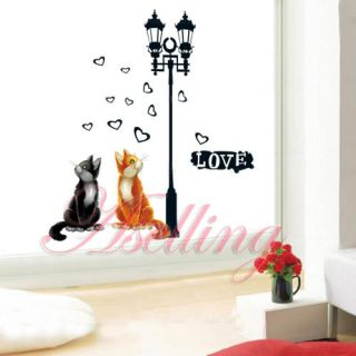 Love Two Cat Heart Lamp DIY Removable Art Vinyl Wall Sticker Decor