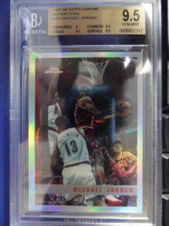 1997 98 TOPPS CHROME MICHAEL JORDAN INSERT REFRACTOR CARD #123 BGS 9.5