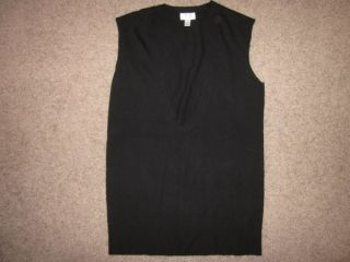 Ann Taylor Loft Black Scoop Neck Black Sweater Vest Wool Cashmere L