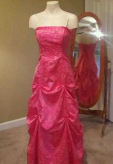 Morgan and Co Long pink strapless Formal Prom Dress corset back
