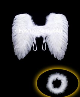 Costume Angel Feather Wings w Halo Ring Flower Girls Children Wedding