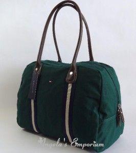 Tommy Hilfiger Davis Canvas Large Travel Tote Bag Green