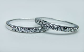Designer Nelson HO Diamond Wedding Band Pair Set 18K White Gold Calla