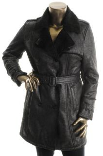 Andrew Marc New Black Faux Fur Lined Belted Button Downtrench Coat XL