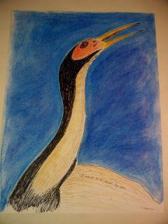 Mass Outsider Art Folk Crane Heron Bird Love Hope Rural