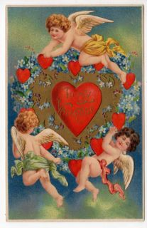 Valentine Postcard of Cherub Angels with Hearts and Flowers