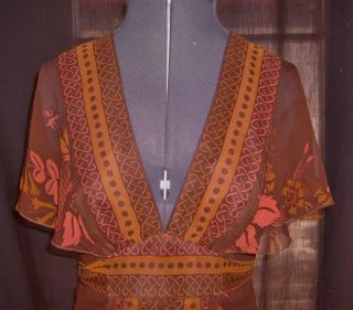 ANNA SUI ANTHROPOLOGIE Dress Brown Rust Geo Floral Silk Size 2
