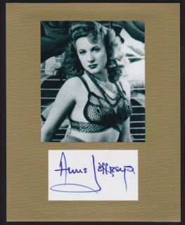 Anne Jeffreys Autograph Display Sexy Bra Pose Signed Signature COA