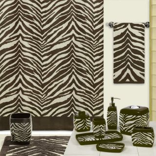 Safari Brown Tan Zebra Print Bath Accessories Bathroom Collection