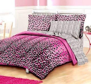 PC Kitten Hot Pink Leopard Print Sheet Sham Comforter Set