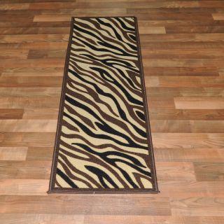 Rubber Back Zebra Animal Print Soft Area Rug 20X59 Runner (Area Size