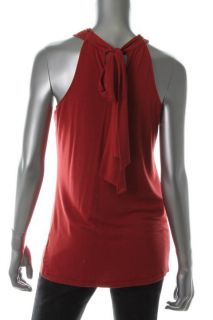 Anne Klein New Gramercy Red Beaded V Neck Cross Tank Top Shirt s BHFO
