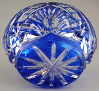 Cobalt Blue Cut To Clear Lead Crystal Basket Bowl