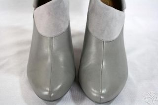 COACH Annika Slate Light Gray Leather w/ Suede Trim Ankle Boots Shoes