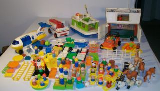 Vintage Fisher Price Little People Farm House Airplane Boat Cars